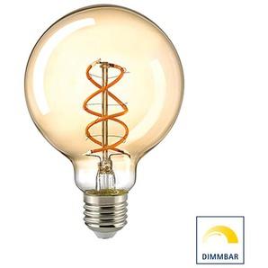 Sigor LED Filament Globelampe Curved E27 Gold, 5,5 W, 2000 K, dimmbar