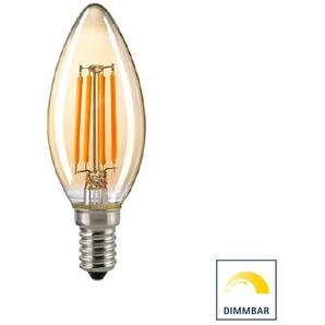 Sigor LED Filament Kerze E14 Gold, 4,5 W, 2400 K, dimmbar