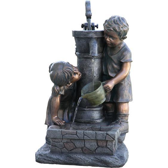 Silex Brunnen Fynn und Merle im Bronze-Look, 38,5x34x67cm, inkl. Pumpe