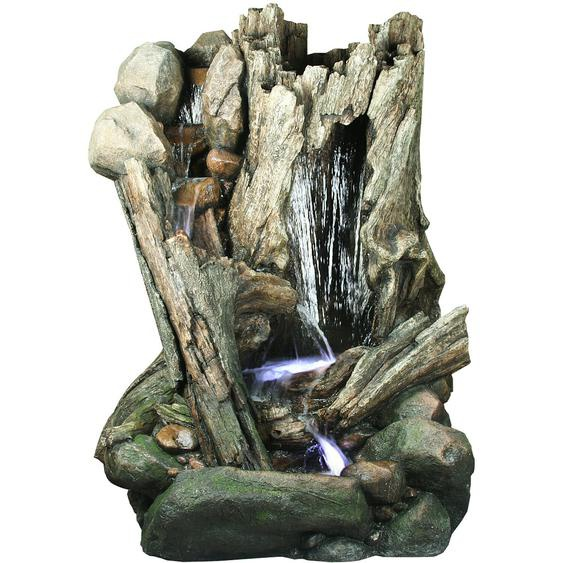 Silex Kunststeinbrunnen Baumstamm aus Polyresin inkl. Pumpe und LED 200 cm