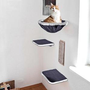 SILVIO design Katzen-Kletterwand, hoch, 4-tlg. B/T: 35 cm x 27 grau Katzen-Kletterwand Kratz- Kletterbäume Katze Tierbedarf