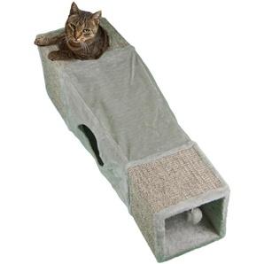 SILVIO design Kratztonne, Spieltunnel BxLxH: 29x99x29 cm B/H/L: 29 x 99 grau Kratz- Kletterbäume Katze Tierbedarf Kratztonne
