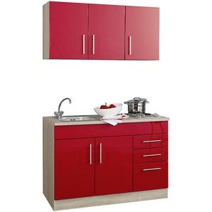 Single-Küche 120 TERAMO-03 Hochglanz Rot B x H x T ca. 120 x 200 x 60cm