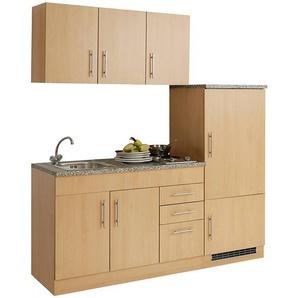 Single-Küche 180 TERAMO-03 Buche Dekor Breite 180 cm mit Kühlschrank B x H x T ca. 180 x 200 x 60cm