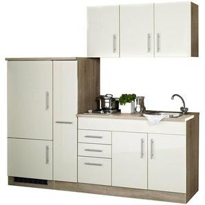Single-Küche 210 TERAMO-03 Hochglanz Creme Breite 210 cm inkl. Kühlschrank B x H x T ca. 210 x 200 x 60cm