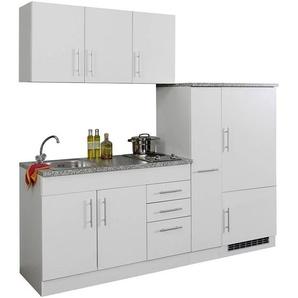 Single-Küche 210 TERAMO-03 Weiß Breite 210 cm inkl. Kühlschrank B x H x T ca. 210 x 200 x 60cm