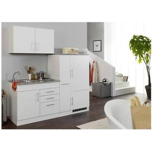 Single-Küchenzeile 190 cm in Weiß TERAMO-03 inkl. Kühlschrank B x H x T ca. 190 x 200 x 60cm