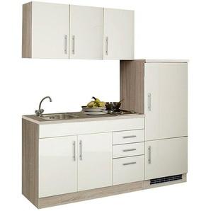 Single-Küchenzeile mit Kühlschrank 180 cm TERAMO-03 Hochglanz Creme/Eiche-Sonoma B x H x T ca. 180 x 200 x 60cm
