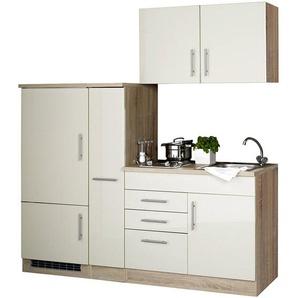 Single-Küchenzeile mit Kühlschrank, Hochglanz Creme TERAMO-03 B x H x T ca. 190 x 200 x 60cm