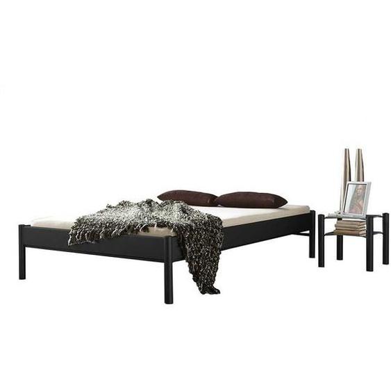 Singlebett in Schwarz Eisen mit Nachttisch (2-teilig)