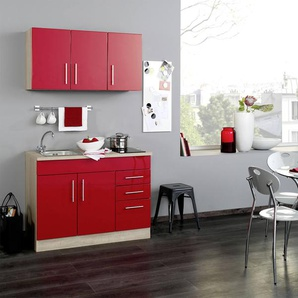Singleküche in rot/Eiche-Sonoma-Dekor, Stellmaß: ca. 120 cm, mit Glaskeramik-Kochfeld