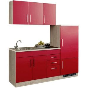Singleküche in rot/Eiche-Sonoma-Dekor, Stellmaß: ca. 180 cm, mit Glaskeramik-Kochfeld und Kühlschrank inkl. Gefrierfach