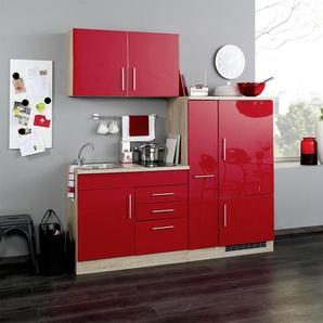 Singleküche in rot/Eiche-Sonoma-Dekor, Stellmaß: ca. 190 cm, mit Glaskeramik-Kochfeld und Kühlschrank inkl. Gefrierfach
