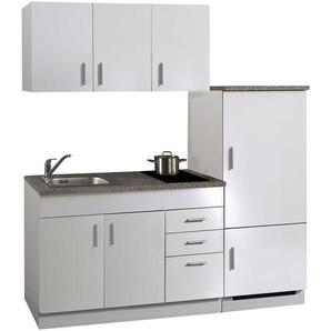 Singleküche in weiß, Stellmaß: ca. 180 cm, mit Glaskeramik-Kochfeld und Kühlschrank inkl. Gefrierfach