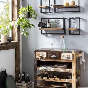 SIT Küchenwagen Fridge, aus recyceltem Altholz, Shabby Chic, Vintage B/H/T: 78 cm x 85 48 braun Küchenaccessoires Wohnaccessoires