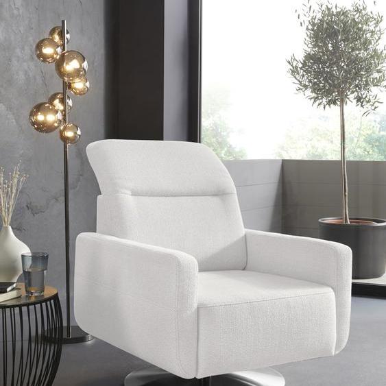 sit&more Drehsessel Strukturstoff, mit Kopfteilverstellung weiß Sessel