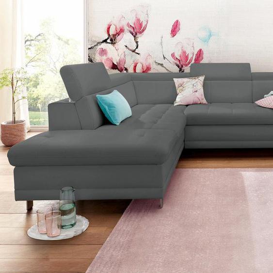 sit&more Ecksofa, mit Bettfunktion, Ottomane rechts oder links, FSC®-zertifiziert, grau, Material Holzwerkstoff, mit Schlaffunktion mit Bettkasten
