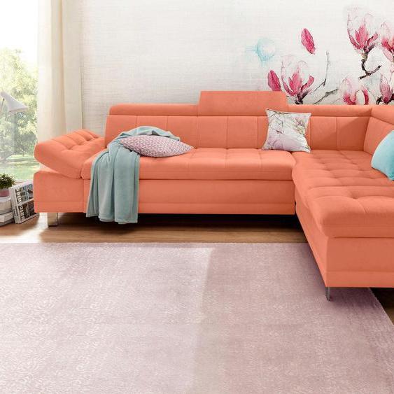 Ecksofa, mit Bettfunktion, Ottomane rechts oder links, FSC®-zertifiziert, orange, Material Holzwerkstoff, mit Bettkasten, mit Schlaffunktion