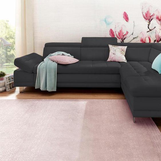 Ecksofa, mit Bettfunktion, Ottomane rechts oder links, FSC®-zertifiziert, schwarz, Material Holzwerkstoff, mit Bettkasten, mit Schlaffunktion