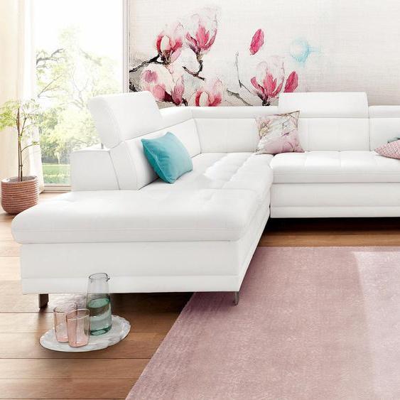 sit&more Ecksofa, mit Bettfunktion, Ottomane rechts oder links, FSC®-zertifiziert, weiß, Material Holzwerkstoff, mit Schlaffunktion mit Bettkasten