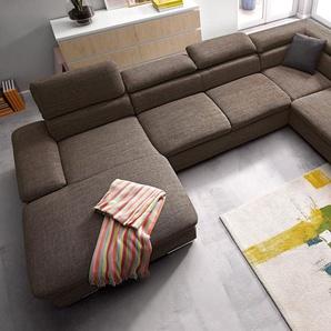 sit&more Wohnlandschaft, braun, 350cm, Ottomane rechts, FSC®-zertifiziert