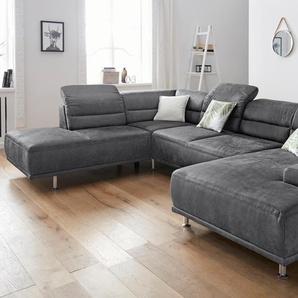 sit&more Wohnlandschaft, grau, mit Sitztiefenverstellung, mit Kopfteilverstellung, 332cm, Recamiere rechts, FSC-Zertifikat, , , FSC®-zertifiziert