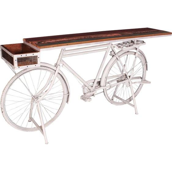 SIT Stehtisch Tischplatte: Massivholz, Gestell: Metall, 160x43 cm weiß Bartische, Theken Tresen Barmöbel Küchenmöbel Tisch