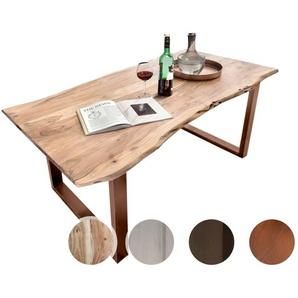 SIT Tops & Tables Esstisch Massivholz Akazie Baumkante Slim 160x85 cm / Eisen antikbraun
