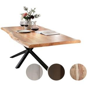 SIT Tops & Tables Massivholz Esstisch Futura 220x100 cm / Eisen antikschwarz / 5,6 cm