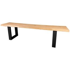 Sitzbank Elis X Gestell Eiche wildeiche massiv mit Baumkante geölt 160 cm breit