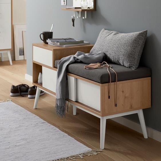 Sitzbank mit Schuhfach - braun - Holz -