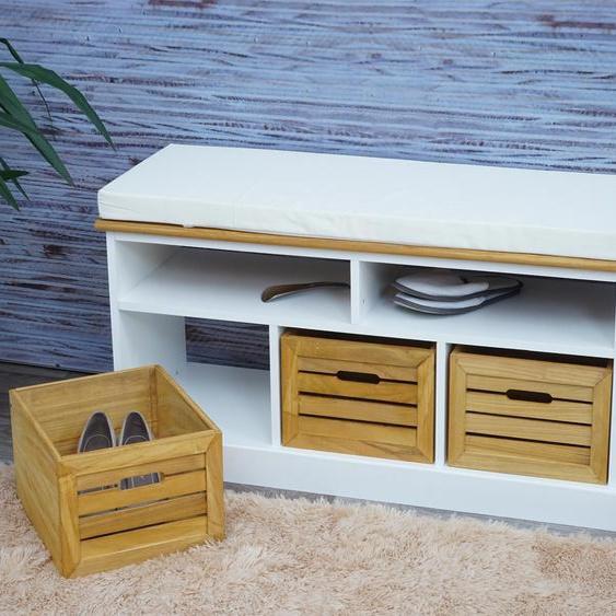 Sitzbank mit Stauf�chern HWC-G50, Polsterbank, Kissen Landhaus Aufbewahrungsboxen Fach 49x95x35cm, wei�-braun