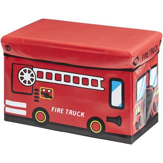 Sitzbank mit Stauraum   rot   Box Außen: 100% Vinyl, Füllung: Karton, Innen: Stoff 100% Polyester Deckel: Karton gepolstert und bezogen (Bezug: 100% Vinyl, Polsterung 100% Polyurethan)  