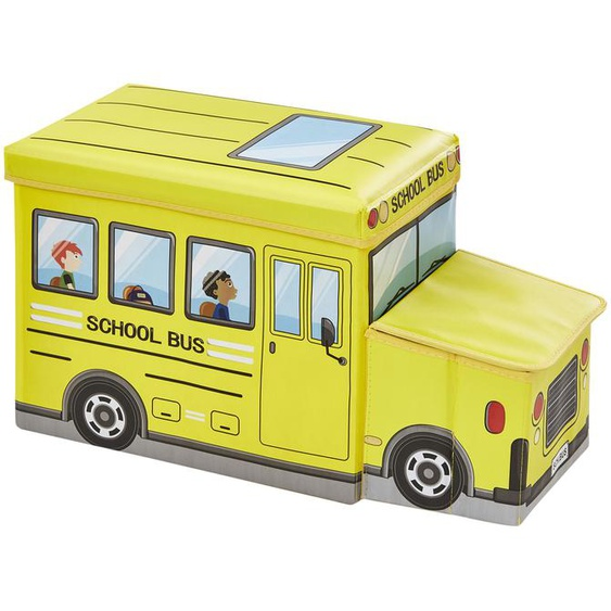 Sitzbank mit Stauraum   Schulbus - gelb - Box Außen: 100% Polyester, Füllung: Karton, Innen: Stoff 100% Polyester, Deckel: Karton gepolstert und bezogen (Bezug: 100% Polyester, Polsterung 100% Polyurethan)   Möbel Kraft