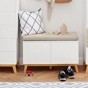 Sitzbank mit Stauraumfächern - beige - Holz -
