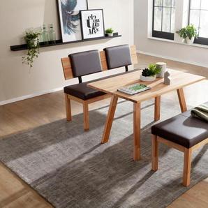 Sitzbank Roberto, Massivholz B/H/T: 150 cm x 83 52 cm, Kunstleder braun Essbänke Sitzbänke Stühle