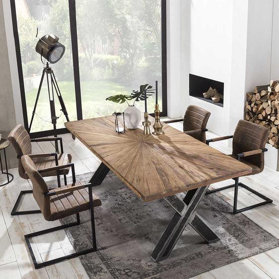 Sitzgarnitur im Loft Design Teak Recyclingholz und Braun Kunstleder (fünfteilig)