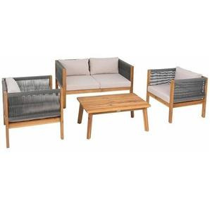 Sitzgruppe Gartenmöbel Akazie Lounge Set Sitzgarnitur Holz Massiv Garten Seil - ESTEXO