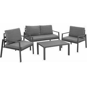 Sitzgruppe Göteborg mit Tisch - Gartentisch, Gartenstuhl, Sitzbank - grau - TECTAKE