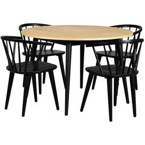 Sitzgruppe in Eichefarben und Schwarz Retro Stil (fünfteilig)
