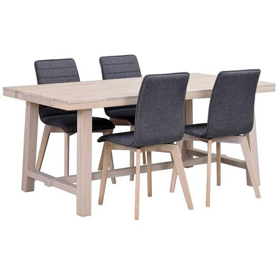Sitzgruppe in Holz White Wash und Grau Skandi Design (5-teilig)