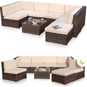 Sitzgruppe Sitzgarnitur Lounge Gartenmöbel Gartenset Rattan Sitzgruppe braun XL - MUCOLA