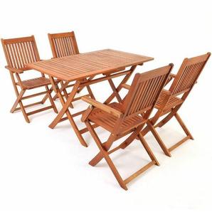 Deuba® Sitzgruppe Sydney 4+1 FSC®zertifiziertes Akazienholz 5-TLG klappbare Sitzgarnitur Holz Garten Möbel Set