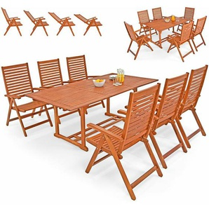 Deuba Sitzgruppe Unikko 6+1 FSC®-zertifiziertes Eukalyptusholz klappbar 7-TLG Tisch Sitzgarnitur Holz Gartenmöbel