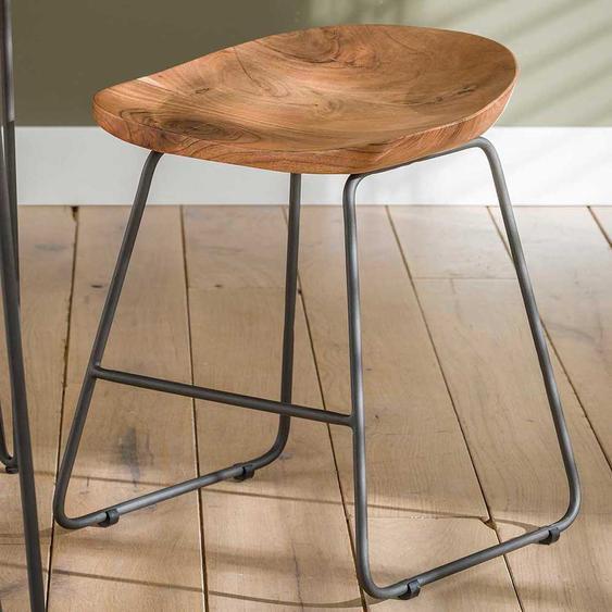 Sitzhocker aus Akazie Massivholz und Stahl Loft Design (2er Set)