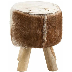 Sitzhocker aus Echtfell und Eukalyptusholz rustikalen Landhausstil