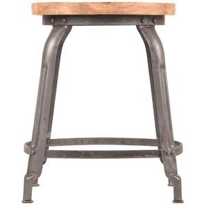 Sitzhocker aus Mangobaum Massivholz Metall