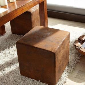 Sitzhocker Dado Braun 45x45 cm Vintage Optik, Sitzhocker / Sitzwürfel