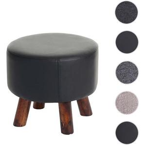 Sitzhocker HWC-C29, Ottomane Hocker Fuhocker,  42cm rund ~ Kunstleder schwarz