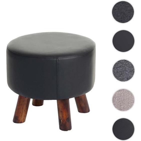 Sitzhocker HWC-C29, Ottomane Hocker Fu�hocker, � 42cm rund ~ Kunstleder schwarz